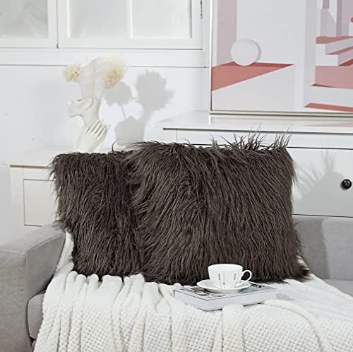 JULIYEH Juego de 2 fundas de cojín de pelo sintético suave, fundas decorativas de cojín lumbar con cremallera invisible, para sofá, dormitorio, salón, coche, 50 x 50 cm, color gris