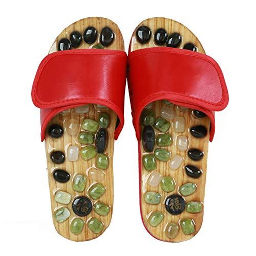 WXDP Pantuflas Calientes,Zapatillas Zapatillas de Masaje de pies, Zapatillas de Masaje para Mujeres y Hombres Zapatillas de Masaje de acupresión con Piedra de Jade, Sandalias de reflexología para