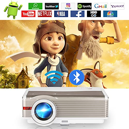 Wireless Smart WiFi Projector 6200L Outdoor LED LCD Bluetooth Movie Zoom Full HD 1080P Home Cinema Theater Projector Screen Mirror HDMI USB VGA AV for Video Gaming Phone PS4 Laptop TV Stick X-Box DVD