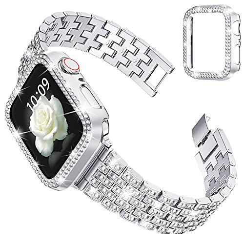 wlooo Glitzer Diamant Uhrenarmband mit Schutzhülle für Apple Watch 44mm 42mm 40mm 38mm, Bling Herren Damen Kristall Strass Schmuck Edelstahl Metall Ersatzarmband für iWatch Series SE 6 5 4 3 2 1