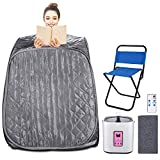 Aceshin Portable Steam Sauna Home Spa 2L Foldable Personal Therapeutic Sauna for Weight Loss Slimming Detox with Chair, Remote Control, Timer