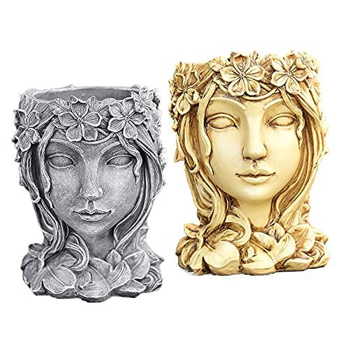KTYXGKL Goddess Head Succulents Plant Pot, Retro Lady Face Statue Flowerpot, Large Caliber Portrait Sculpture Art Ornament Container, Indoor Outdoor Girl Face Flower Vase Crafts 2Pcs