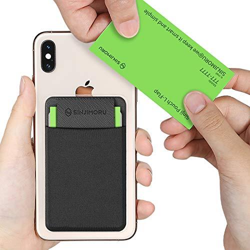 Sinjimoru Slim Wallet für Smartphones, Visitenkarten Etui mit Verschluss, Karten Portemonnaie für Handy, Card Holder, Wiederverwendbares Kartenetui für iPhone und Android, Sinji Pouch L-Flap, schwarz