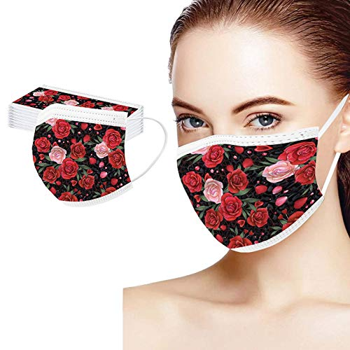 ZLUU 20PC Unisex Adult Stylish Pattern Disposable Masquess for Coronàvịrụs Protectịon, 3 Ply Non-woven Protective Mouth-Coverages Elastic Earloop Dustproof Windproof