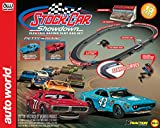Auto World HO Scale Stock Car Showdown Electric Racing Slot Car Set with 13-Foot Race Track, Black (SRS329)