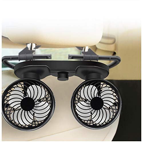 HITOPTY 12V Car Fan, 360 Degree Swivel 2 Speed Electric Backseat Fans for Auto SUV RV Vehicle Boat
