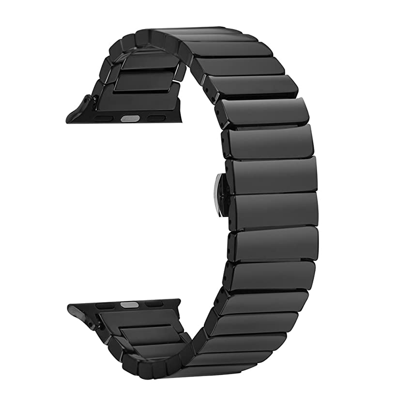 Ceramic Band for Apple Watch, SOWELL Fashional Ceramic Bracelet Wrist Band for Apple Iwatch (38MM Black)