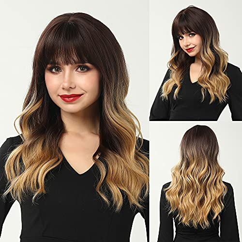 CAUGHTOO Ombre Brown Wig Long Wave Wig Ombre Brown Blonde Wigs With Bangs Medium length Wig Synthetic Wigs with Bangs for Women Party Daily Hair Heat Resistant 22 Inch(Ombre brown Blonde)