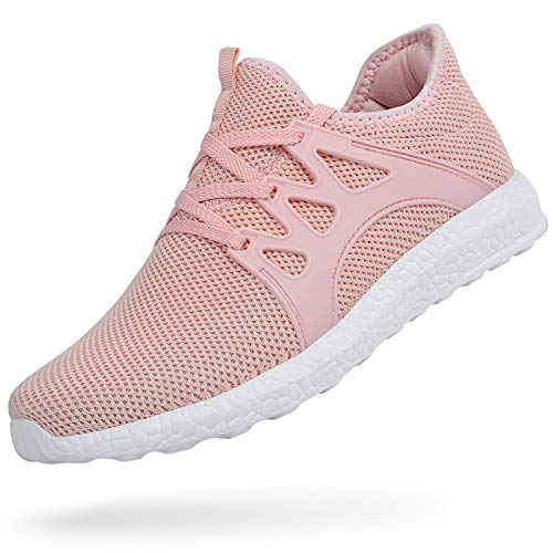 MARSVOVO Women's Sports Non Slip Running Shoes Work Shoes Fashion Sneakers Air Knitted Ultra Lightweight Breathable Athletic Gym Walking Running Shoes Pink Size 6