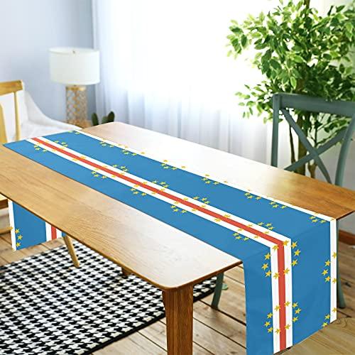 LORDWEY Cape Verde Flagge Tischläufer, rutschfeste hitzewiderstandsfähige Tischdecke für Esstisch Party 35,6 x 274,3 cm