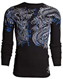 Affliction Xtreme Couture Men Long Sleeve Thermal Shirt Double UP Dragons (Large) Black