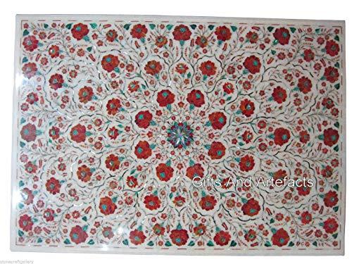 Mesa de centro blanca hecha a mano con piedra cornalina de 86 x 100 cm