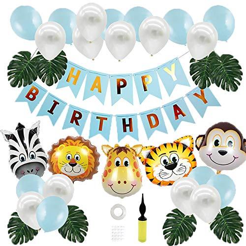 Dschungel Geburtstag Deko Fiyo Kindergeburtstag Deko Party-Set Happy Birthday Girlande Luftballons Folienballon Tiere Palmblättern für Geburtstagsdeko Jungen, Safari Themengeburtstag,Baby Shower Deko