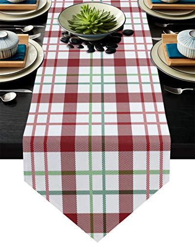 Cotton Linen Burlap Table Runner Red Green Lines Home Decorative Table Cloth Cover for Kitchen Dining Banquet Party/Parties Tabletop Picnic Dinner Red and White Buffalo Check Plaid 16x72in