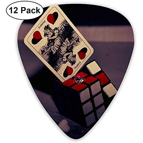 Magic Cube Card gitaar, pickset, basgitaar, mandoline, ukelele 0,46 mm, 0,71 mm, 0,96 mm, 12 pak gitaarpicks plectrums met pickhouder