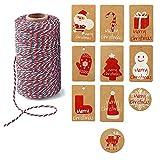 SGAONSN cuerda roja y verde, 2 rollos x 328 pies 100 % hilo de algodón duradero, perfecto para hornear, carniceros, con 10 tarjetas de Navidad como bono, Rojo, verde y blanco.