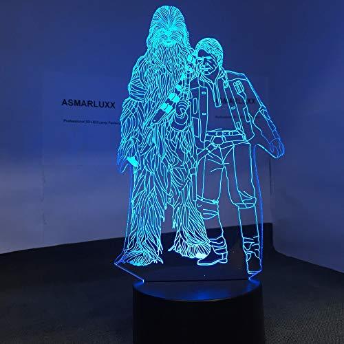 Chewbacca Han Solo Forma Modelo Toy Star Sci-Fi Movie Wars 3D LED Luz de noche Lámpara de mesa Mesita de noche Decoración Regalo de niños