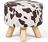 Homebeez Round Ottoman Stool Velvet Foot Rest, Small Footstool with Non-Skid Legs (Brown Cow)