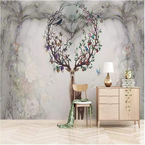 3D fotobehang wandschilderij wandschilderijen Scandinavische nostalgische eland woonkamer TV sofa achtergrond behang moderne wooncultuur, 400x280cm