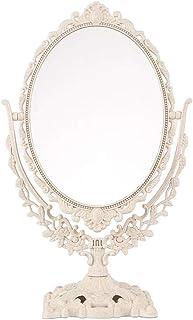 Garneck Miroir de table vintage - Ovale - Rotatif à 360° - Double face - Décoratif