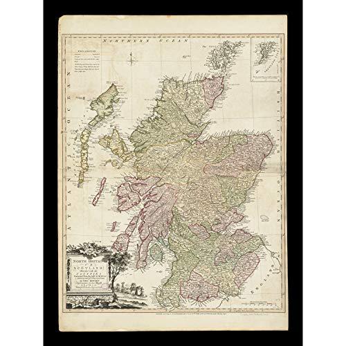 Keuken 1778 kaart Schotland provincies Noord-Brittannië ingelijst muur kunst afdrukken 18X24 In