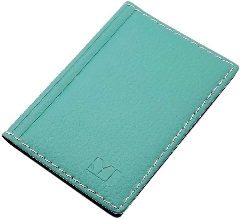 Myledershop, elegante custodia per carte di credito e biglietti da visita, 12 scomparti, in vera pelle, verde