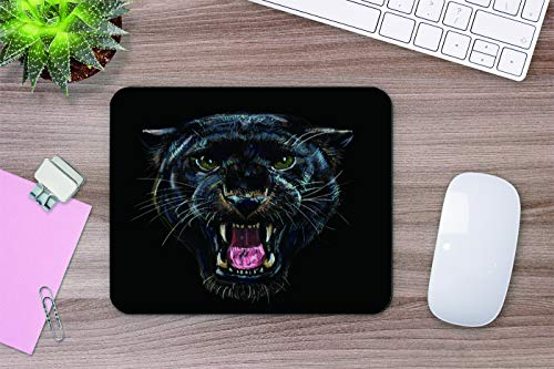 Yeuss Leopard Head Mouse Pad Rectangular Non-Slip Mousepad, Roaring Black Panther On Black Background Digital Painting Gaming Mouse Pads, Black,200mm x 240mm Photo #5