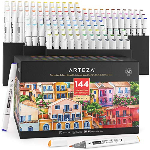 Arteza Alcohol Art Markers, Alcohol Markers Set of 144 Colors, Broad Chisel Tip and Fine Tip, Dual-sided Tips, Art Supplies for Sketching, Coloring, Illustrating, and Arts and Crafts