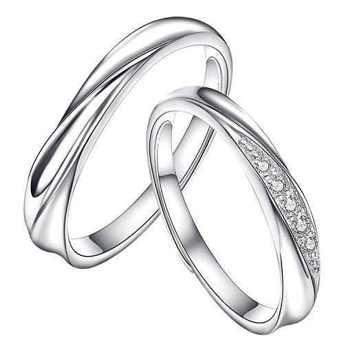 Yoursfs ペアリング カップル 婚約指輪 結婚指輪オープン シルバー925 純銀製 指輪 レディース メンズ フリーサイズ (カップル)