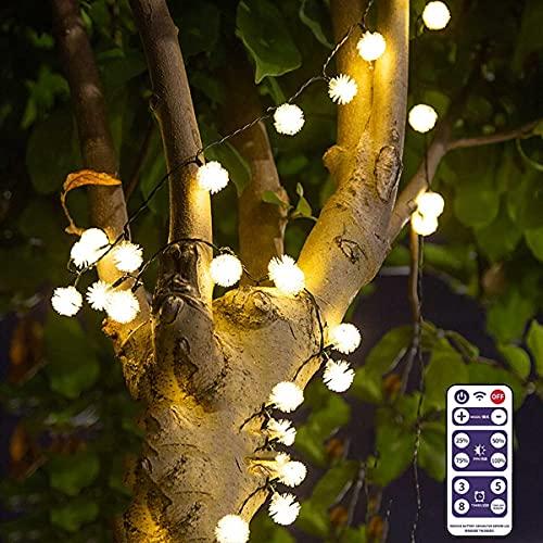 Guirnaldas Luces Exterior Solar Luz de Cuerda a Prueba de Agua Solar con Control Remoto, para terrazas, árboles de Patios, Jardines Interiores, Salas de reuniones, Fiestas Luces Exterior