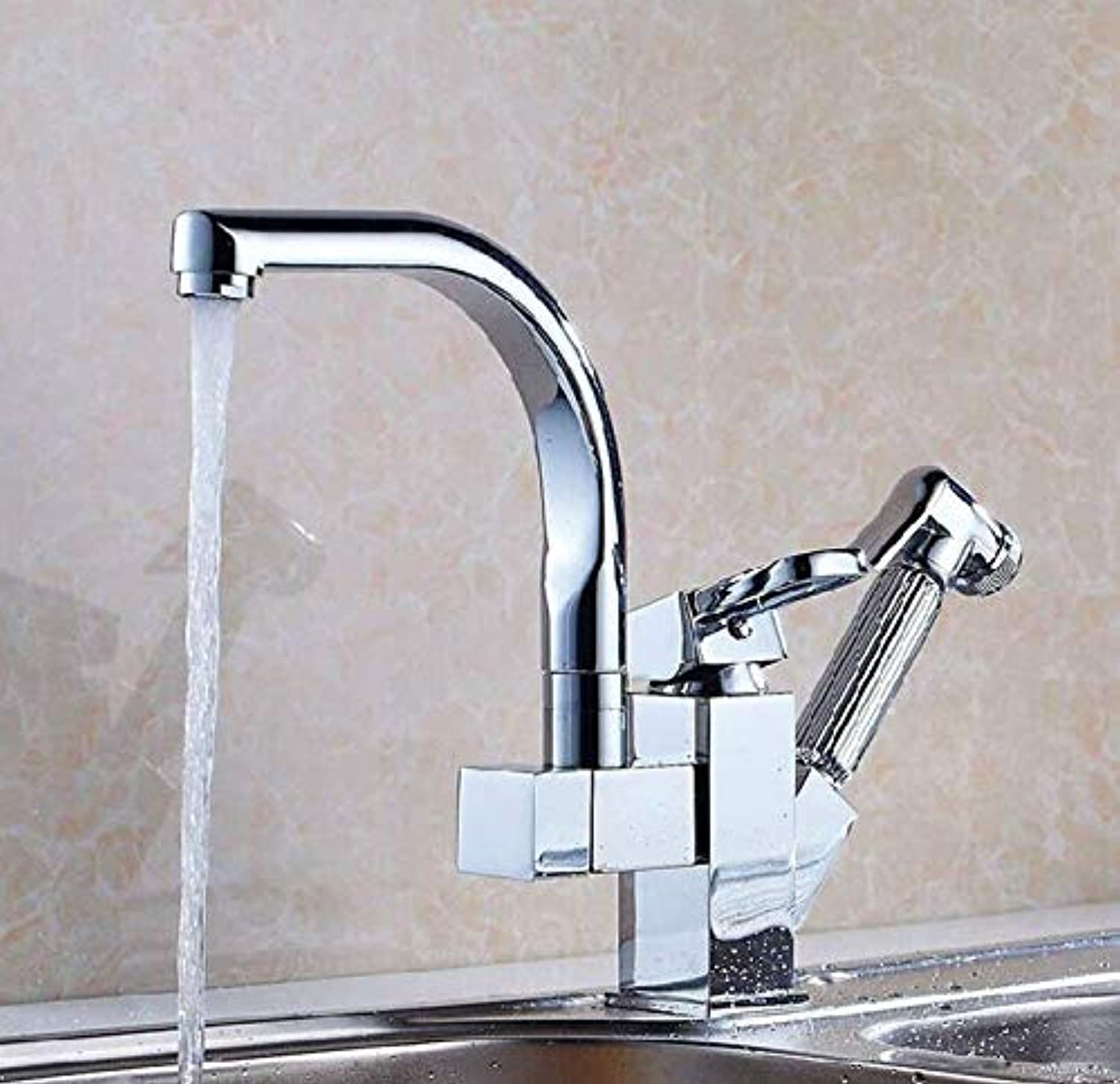 Kitchen Fauct Full Copper Kitchen Faucet Pull-Out Hot and Cold Sink Faucet Drawing Vegetables Basin Sink Faucet (color   -, Size   -)