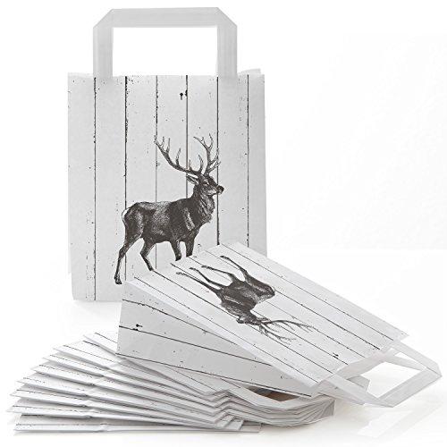 10 kleine Papiertaschen 18 x 8 x 22 cm Papiertüten Tragegriff Henkel HIRSCH Holzoptik schwarz weiß Weihnachtstüten Geschenktüten give-away Mitgebsel Verpackung Geschenk