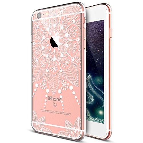 Kompatibel mit iPhone 8 Hülle,iPhone 7 Hülle,Weiße Henna Mandala Blumen Spitze Paisley Indische Sonne TPU Silikon Handy Hülle Tasche Durchsichtig Handyhülle Schutzhülle für iPhone 8 / iPhone 7,#10