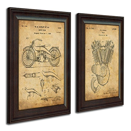 Harley Davidson Patent Prints - Framed Behind Glass 14x17 (Original Engine and Bike - 2pc Set)