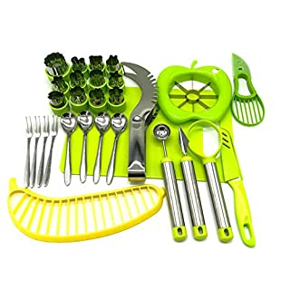 Vegetable Fruit Cutter Shapes Carving Tools Set - 29 pieces - 12 Cute Mini Cookie Cutting Stamps Moulds Flower Heart Star, Melon Baller, Watermelon Cutter, Apple Slicer – Create Fun Food Decoration for Kids Parties - By Australian Business LyfeFx (B08Q7Q9DCK)   Amazon price tracker / tracking, Amazon price history charts, Amazon price watches, Amazon price drop alerts