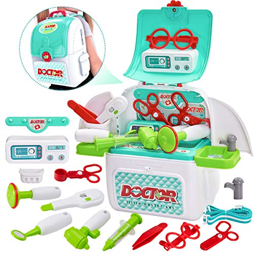 Buyger Kids Childrens Play Doctors Medical Case Set Role Play Toy Gifts for 3 Year Old Kids Toddlers, Backpack