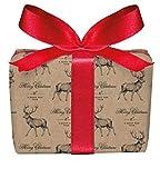 Lot de 5 feuilles de papier cadeau de Noël en papier kraft style rétro pour Noël & l'avent • papier de Noël pour cadeaux de...