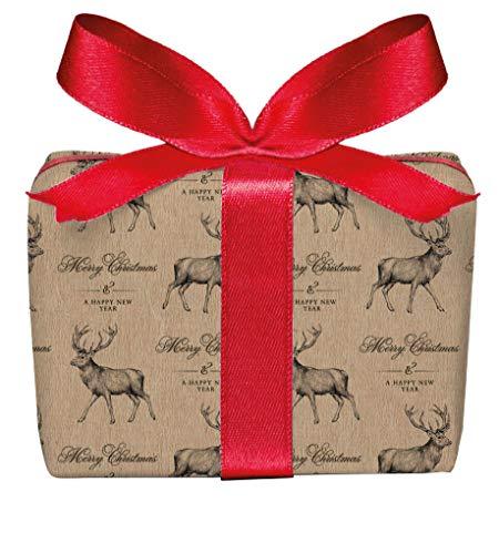 5er Set Weihnachts Geschenkpapier Bögen HIRSCH MERRY CHRISTMAS Retro Kraftpapier Look NATUR Weihnachten u. Adventszeit, Weihnachtspapier für Weihnachtsgeschenke, Merry Christmas Format 50 x 70 cm