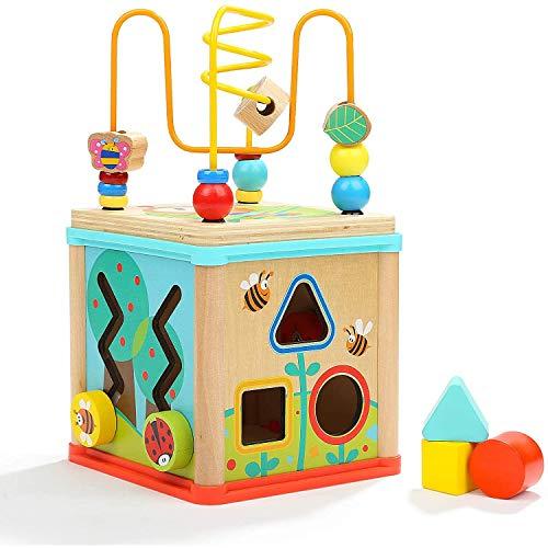 HLD Creative Beading Wooden Multifuncional Trerahedron Forma de color Reconocimiento de color Entrenamiento práctico Educación de la primera infancia Juego de rompecabezas Juguetes para primera infanc