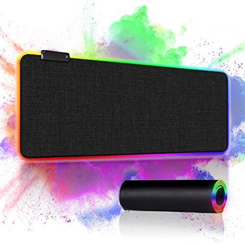 Alfombrilla RGB, Alfombrilla Gaming XXL de 800 x 300 x 4 mm con 12 Modos de luz LED, Tapete Escritorio con Base de Goma Antideslizante para Computadoras y Laptops, Juegos, Jugadores Profesionales