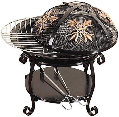 Mnjin Large Fire Pit, Black Cast Iron Brazier Heater, Multifunctional Camping Bowl BBQ, For Indoor Outdoor Garden Patio Grill Wood Charcoal