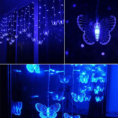 Btruely Fensterdeko Led Laterne Schmetterling Lichterkette Fensterbeleuchtung Festival Valentinstag Fenster Dekoration Leuchtend Weihnachtenweihnachten FüR TüRen,Schaufenster, Vitrinen (Blau)