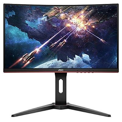 "AOC C24G1 24"" Curved Frameless Gaming Monitor, FHD 1080p, 1500R VA panel, 1ms 144Hz, FreeSync, Height adjustable, VESA, 3-Year Zero Dead Pixels"