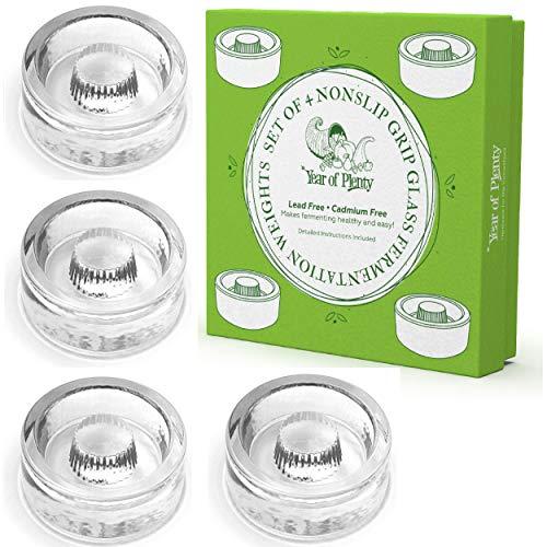 Year of Plenty Fermentation Weights - NonSlip Grip Handle - for Fermenting Sauerkraut, Pickles, Kimchi in Wide Mouth Mason Jars - Lead Cadmium Free - (Set of 4)