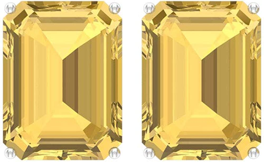 9X7 MM Octagon Cut Citrine Stud Earring Earrings Solitaire OFFicial mail order Gold OFFicial store