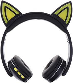 D DOLITY Stereo Foldable Headphones Built-in Mic,for PC/MP3/Mobile Phone,Neon Lights - Yellow