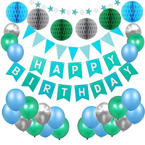 Geburtstagsdeko Jungen,Geburtstag Dekoration Set,Junge Kindergeburtstag Deko,Geburtstagsdeko Happy Birthday Banner,Geburtstagsdeko Mädchen und Jungen,6 Blumenpuscheln,30 Ballons Blau Weiß