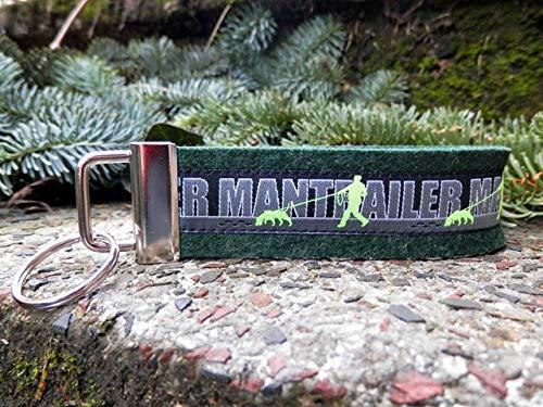 Schlüsselanhänger Schlüsselband Wollfilz dunkelgrün Webband Hunde Mantrailer neon gelbgrün Geschenk