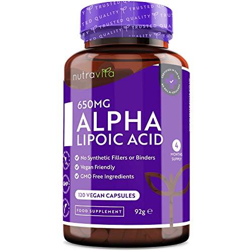 Acido Alfa Lipoico 650 mg – 120 Capsule ad Alto Dosaggio - Adatte a un'alimentazione Vegana – Naturali al 100% Senza Leganti o