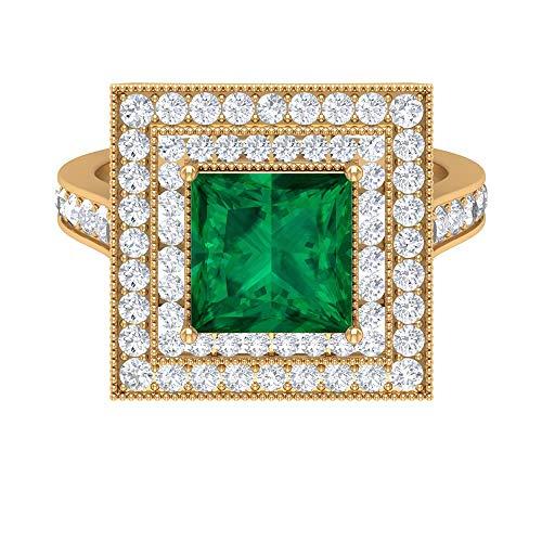 Rosec Jewels - Anillo solitario de turmalina verde de corte princesa de 8 mm con halo doble de moissanita, anillo de compromiso de oro (calidad AAA), oro amarillo de 14 quilates, tamaño: UK S1/2